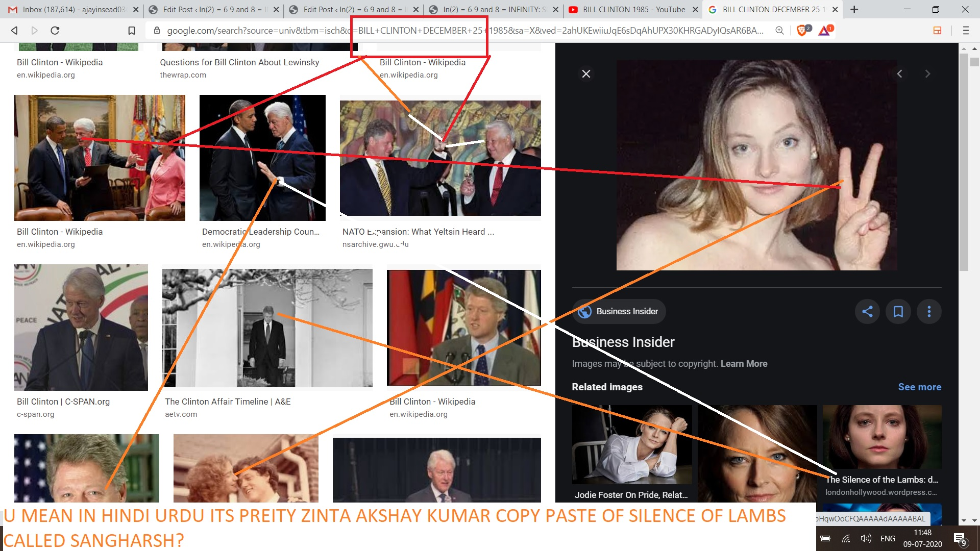 WHAT SHOULD I CALL THIS JODIE FOSTER SILENCE OF LAMBS PREITY INTA AKA TIFFANY TAYLOR 1998 OR 1985 BILL CLINTON AND OLGA LEDNICHENKO I MENA WHAT SHOULD I CALL THIS WHEN ITS AGOT A V SIGN