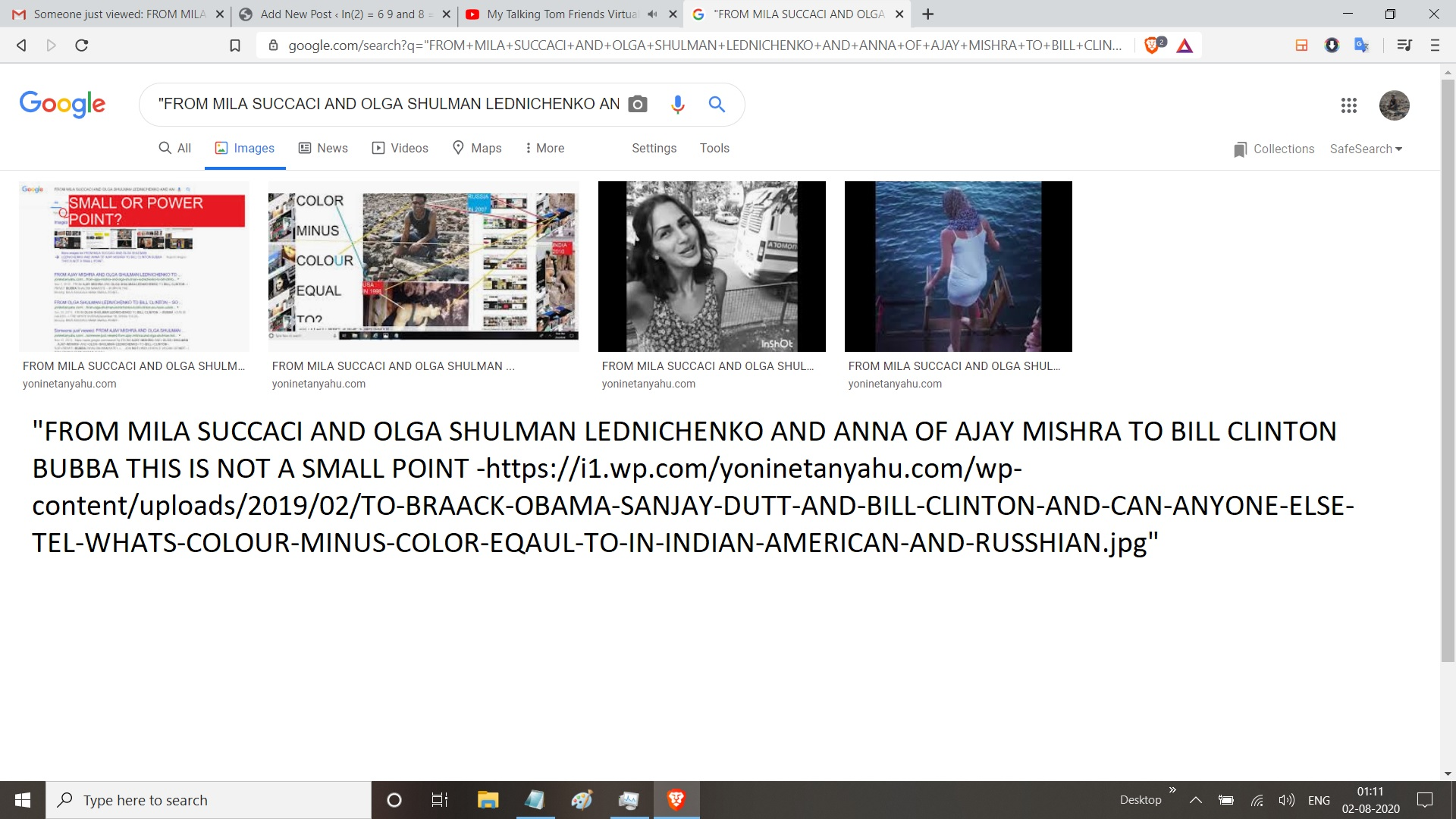 FROM MILA SUCCACI AND OLGA SHULMAN LEDNICHENKO AND ANNA OF AJAY MISHRA TO BILL CLINTON BUBBA THIS IS NOT A SMALL POINT -https://i1.wp.com/yoninetanyahu.com/wp-content/uploads/2019/02/TO-BRAACK-OBAMA-SANJAY-DUTT-AND-BILL-CLINTON-AND-CAN-ANYONE-ELSE-TEL-WHATS-COLOUR-MINUS-COLOR-EQAUL-TO-IN-INDIAN-AMERICAN-AND-RUSSHIAN.jpG