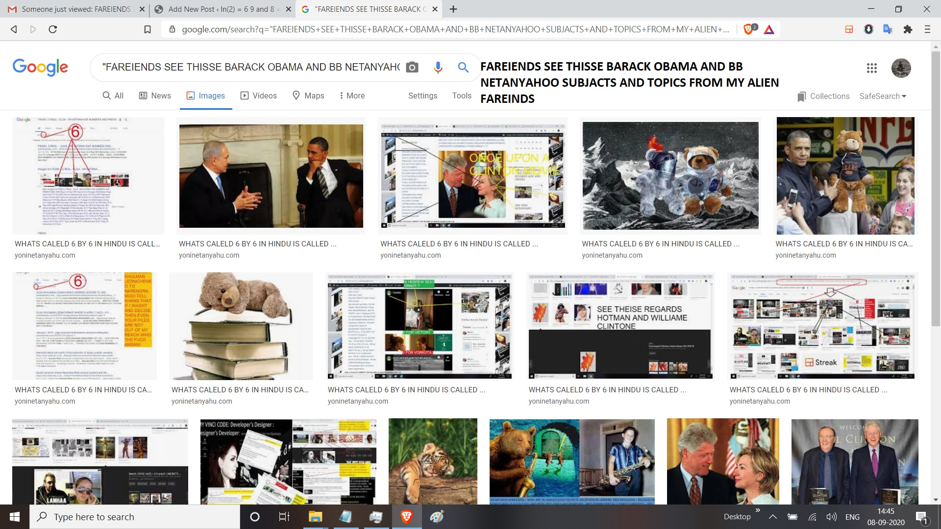 FAREIENDS SEE THISSE BARACK OBAMA AND BB NETANYAHOO SUBJACTS AND TOPICS FROM MY ALIEN FAREINDS