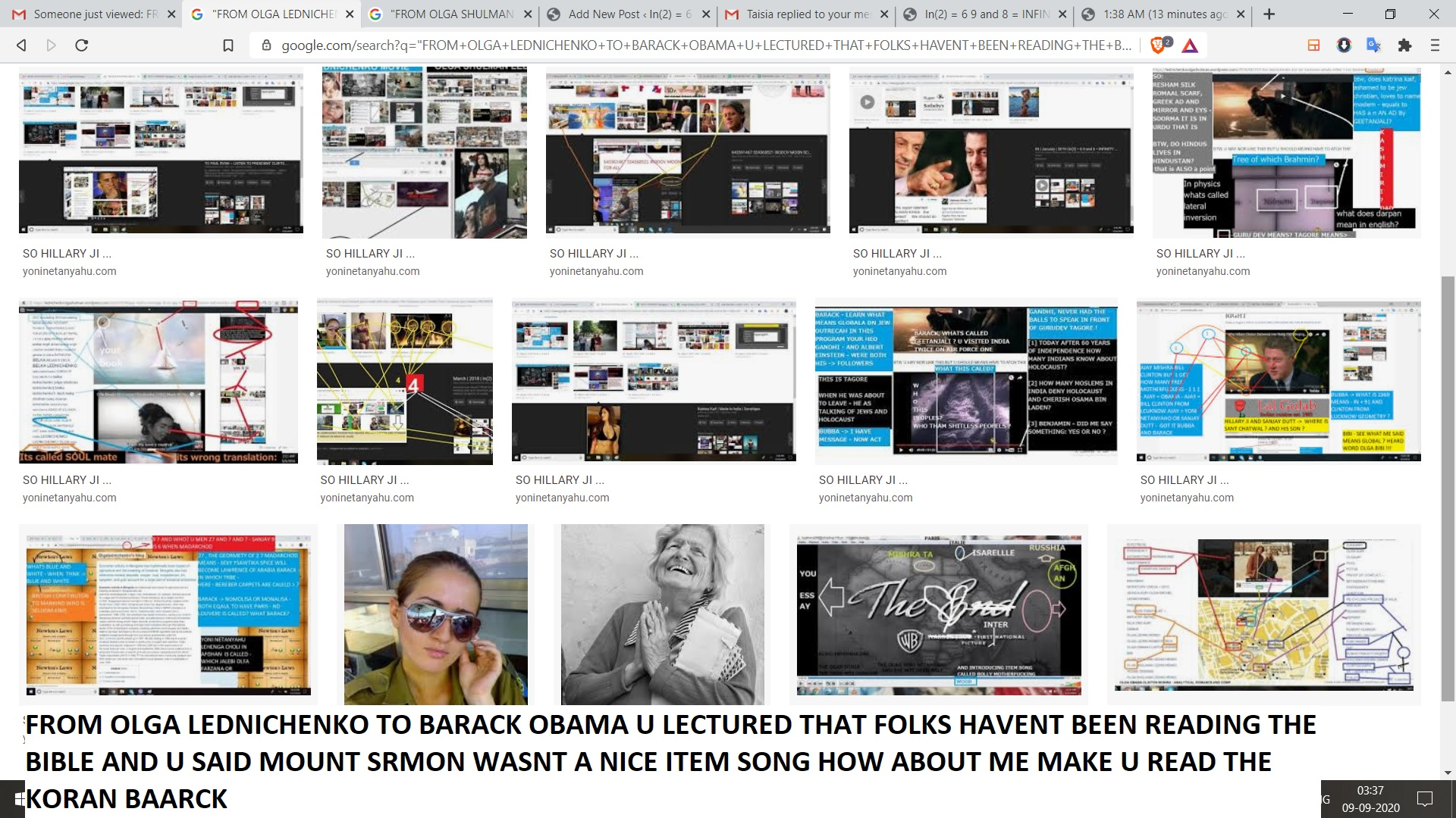 FROM OLGA LEDNICHENKO TO BARACK OBAMA U LECTURED THAT FOLKS HAVENT BEEN READING THE BIBLE AND U SAID MOUNT SRMON WASNT A NICE ITEM SONG HOW ABOUT ME MAKE U READ THE KORAN BAARCK