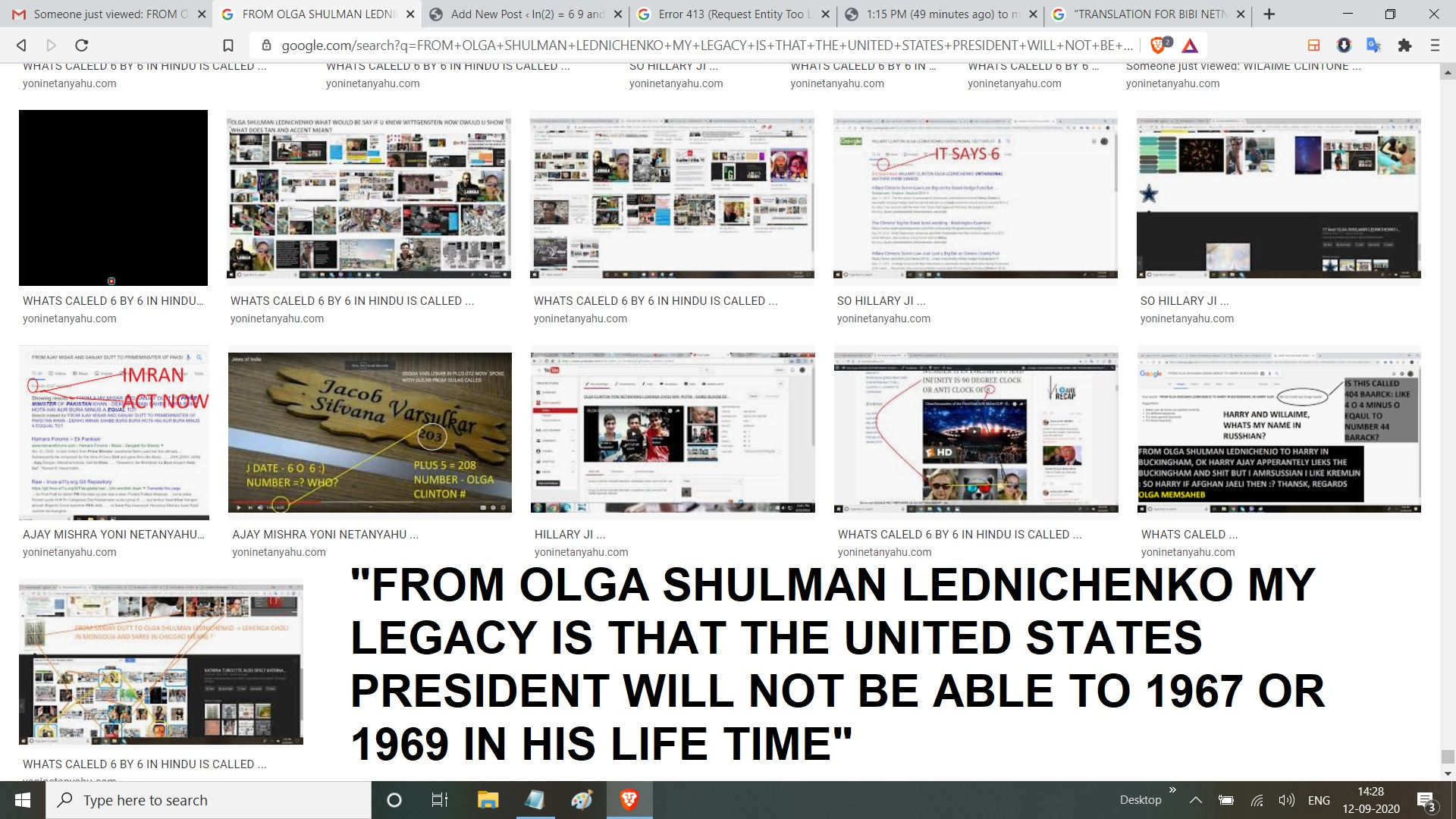 FROM OLGA SHULMAN LEDNICHENKO MY LEGACY IS THAT THE UNITED STATES PRESIDENT WILL NOT BE ABLE TO 1967 OR 1969 IN HIS LIFE TIME