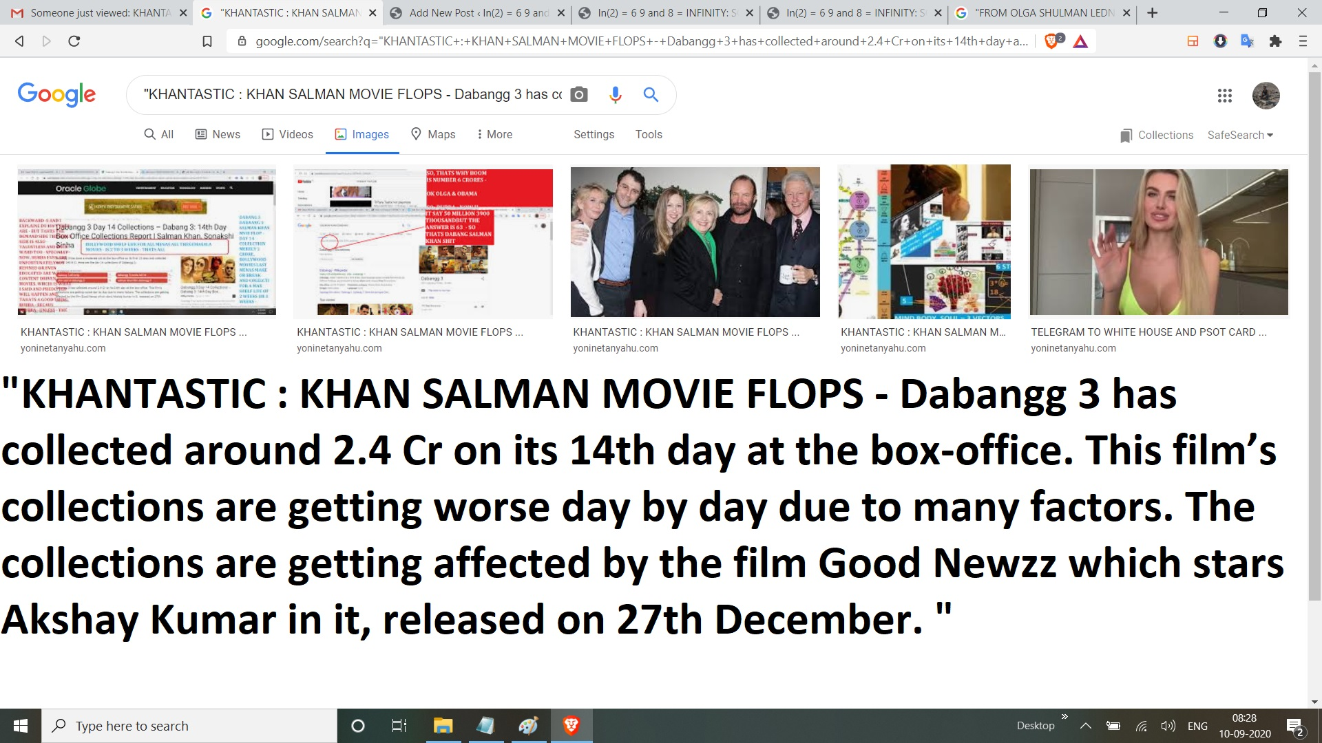 KHANTASTIC KHAN SALMAN MOVIE FLOPS - Dabangg 3 has collected around 2.4 Cr on its 14th day at the box-office. This film's collections are getting worse day by day due to many factors. The collections are getting affected by the film Good Newzz which stars Akshay Kumar in it, released on 27th December