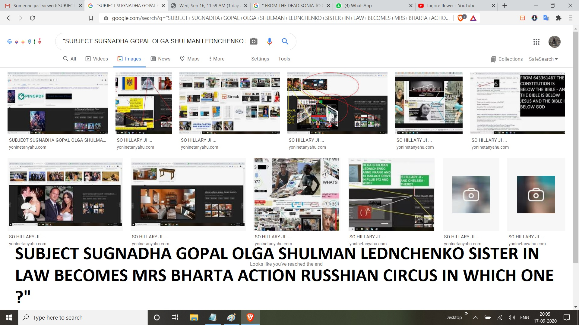 SUBJECT SUGNADHA GOPAL OLGA SHULMAN LEDNCHENKO SISTER IN LAW BECOMES MRS BHARTA ACTION RUSSHIAN CIRCUS IN WHICH ONE
