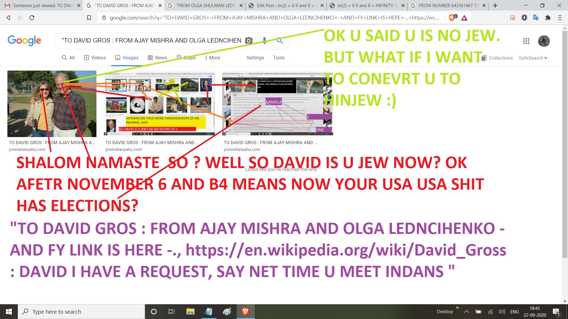 """""""TO DAVID GROS : FROM AJAY MISHRA AND OLGA LEDNCIHENKO - AND FY LINK IS HERE -., https://en.wikipedia.org/wiki/David_Gross : DAVID I HAVE A REQUEST, SAY NET TIME U MEET INDANS """""""