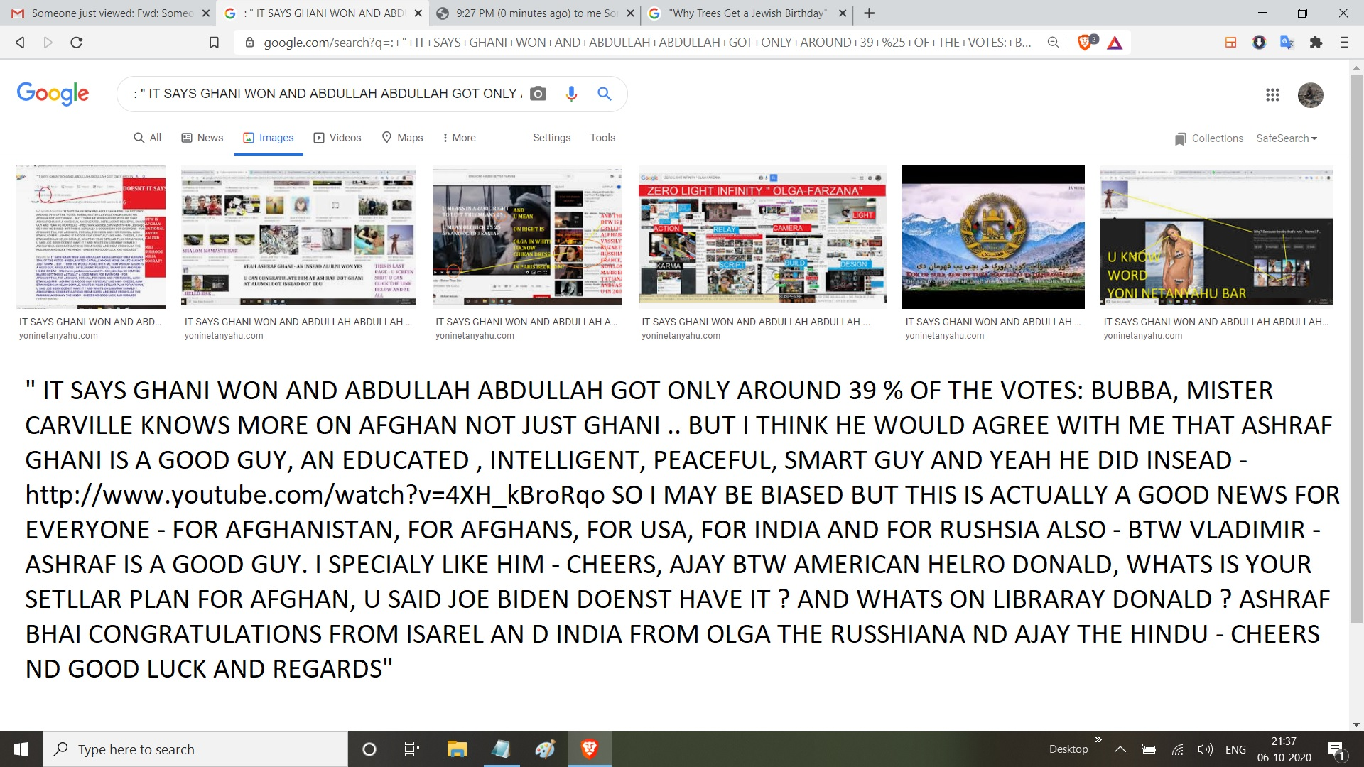 """: """" IT SAYS GHANI WON AND ABDULLAH ABDULLAH GOT ONLY AROUND 39 % OF THE VOTES: BUBBA, MISTER CARVILLE KNOWS MORE ON AFGHAN NOT JUST GHANI .. BUT I THINK HE WOULD AGREE WITH ME THAT ASHRAF GHANI IS A GOOD GUY, AN EDUCATED , INTELLIGENT, PEACEFUL, SMART GUY AND YEAH HE DID INSEAD - http://www.youtube.com/watch?v=4XH_kBroRqo SO I MAY BE BIASED BUT THIS IS ACTUALLY A GOOD NEWS FOR EVERYONE - FOR AFGHANISTAN, FOR AFGHANS, FOR USA, FOR INDIA AND FOR RUSHSIA ALSO - BTW VLADIMIR - ASHRAF IS A GOOD GUY. I SPECIALY LIKE HIM - CHEERS, AJAY BTW AMERICAN HELRO DONALD, WHATS IS YOUR SETLLAR PLAN FOR AFGHAN, U SAID JOE BIDEN DOENST HAVE IT ? AND WHATS ON LIBRARAY DONALD ? ASHRAF BHAI CONGRATULATIONS FROM ISAREL AN D INDIA FROM OLGA THE RUSSHIANA ND AJAY THE HINDU - CHEERS ND GOOD LUCK AND REGARDS"""""""