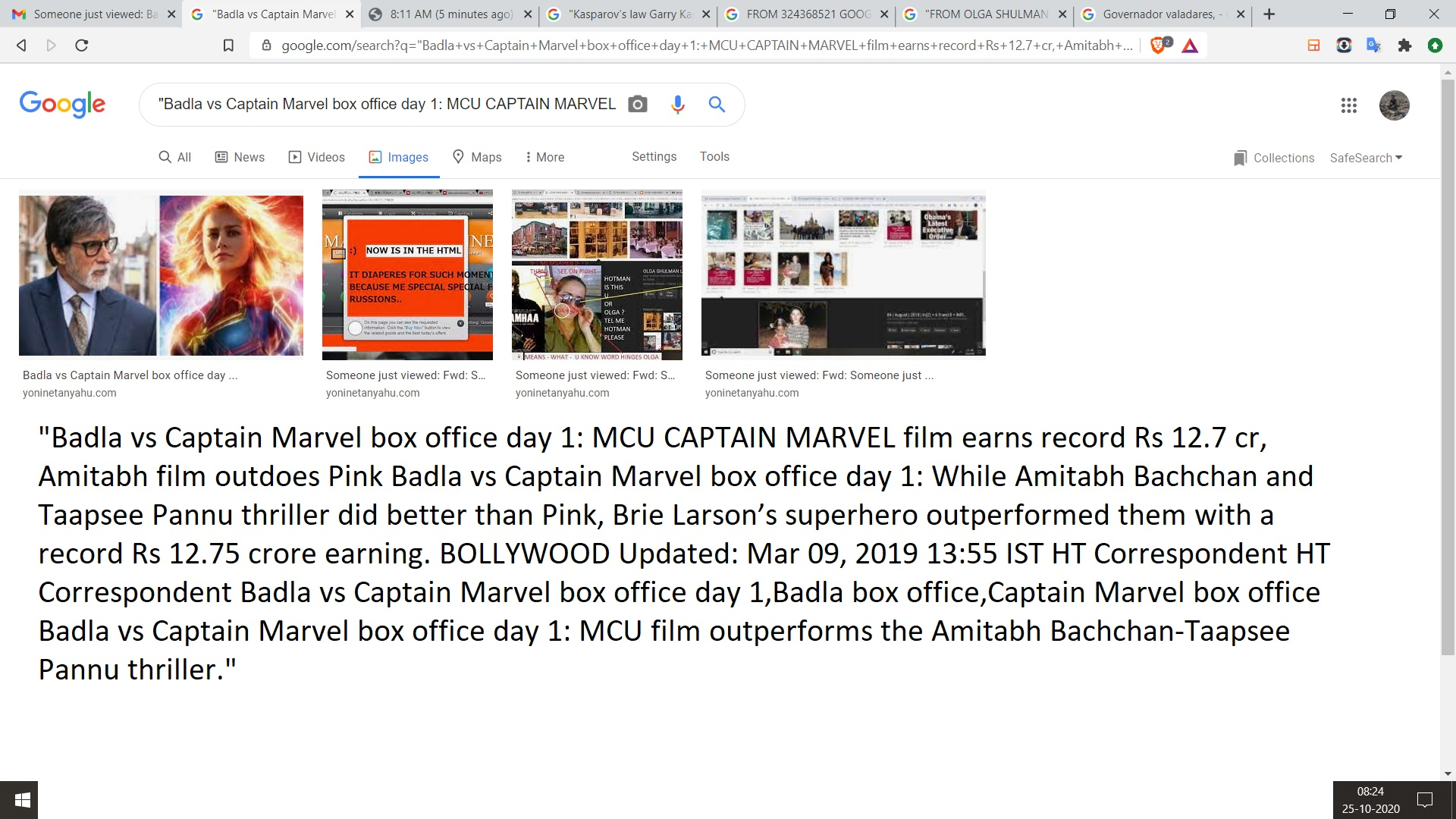 """Badla vs Captain Marvel box office day 1: MCU CAPTAIN MARVEL film earns record Rs 12.7 cr, Amitabh film outdoes Pink Badla vs Captain Marvel box office day 1: While Amitabh Bachchan and Taapsee Pannu thriller did better than Pink, Brie Larson's superhero outperformed them with a record Rs 12.75 crore earning. BOLLYWOOD Updated: Mar 09, 2019 13:55 IST HT Correspondent HT Correspondent Badla vs Captain Marvel box office day 1,Badla box office,Captain Marvel box office Badla vs Captain Marvel box office day 1: MCU film outperforms the Amitabh Bachchan-Taapsee Pannu thriller."""