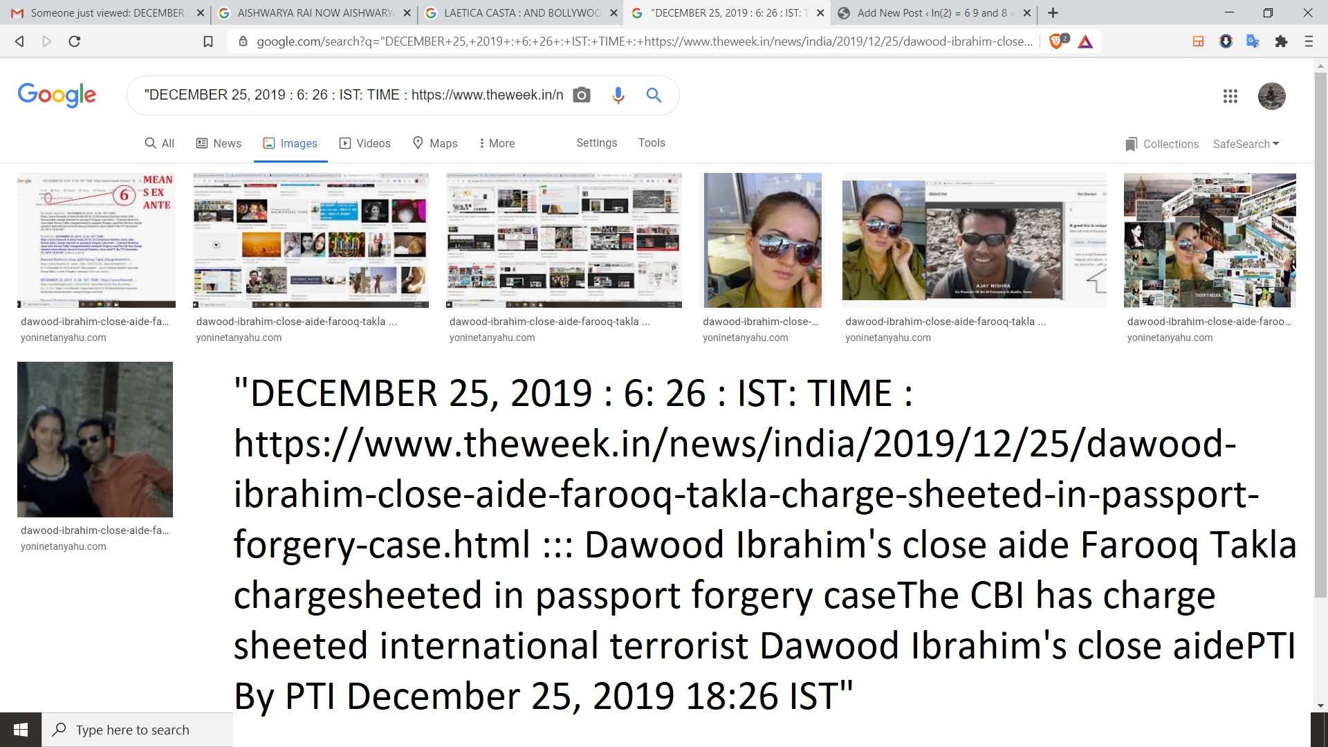 """""""DECEMBER 25, 2019 : 6: 26 : IST: TIME : https://www.theweek.in/news/india/2019/12/25/dawood-ibrahim-close-aide-farooq-takla-charge-sheeted-in-passport-forgery-case.html ::: Dawood Ibrahim's close aide Farooq Takla chargesheeted in passport forgery caseThe CBI has charge sheeted international terrorist Dawood Ibrahim's close aidePTI By PTI December 25, 2019 18:26 IST"""""""