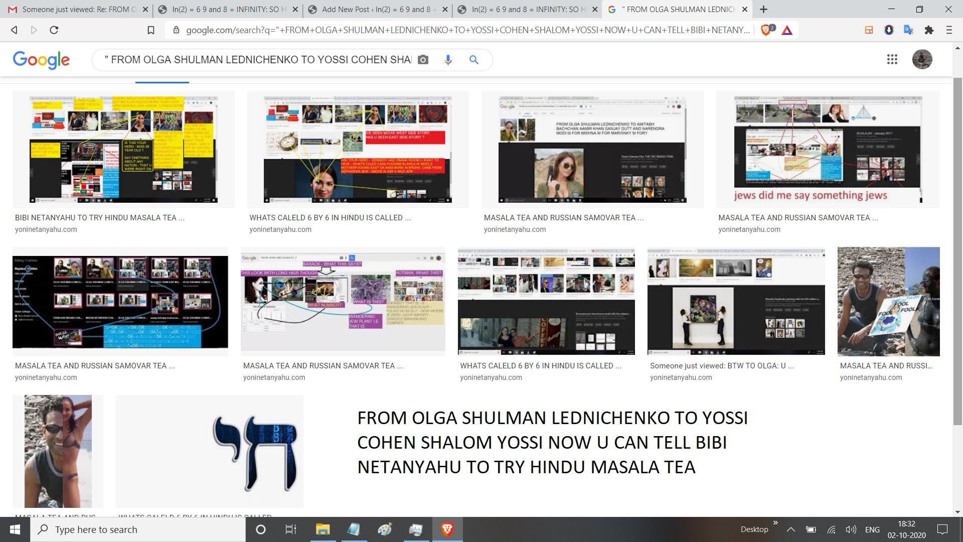 FROM OLGA SHULMAN LEDNICHENKO TO YOSSI COHEN SHALOM YOSSI NOW U CAN TELL BIBI NETANYAHU TO TRY HINDU MASALA TEA