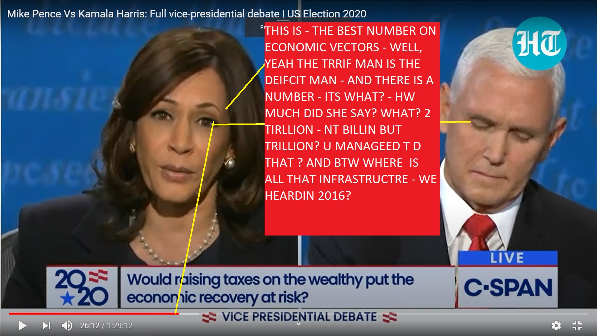 KAMALA HARRIS MIKE PENCE SUBJECT ECONMY - TAXES AND TARRIFS AND DEFICIST - BESAILLY TAX CUST - HAVE A COST AND THAT IS 2 TRILLIN IN DEFICIST