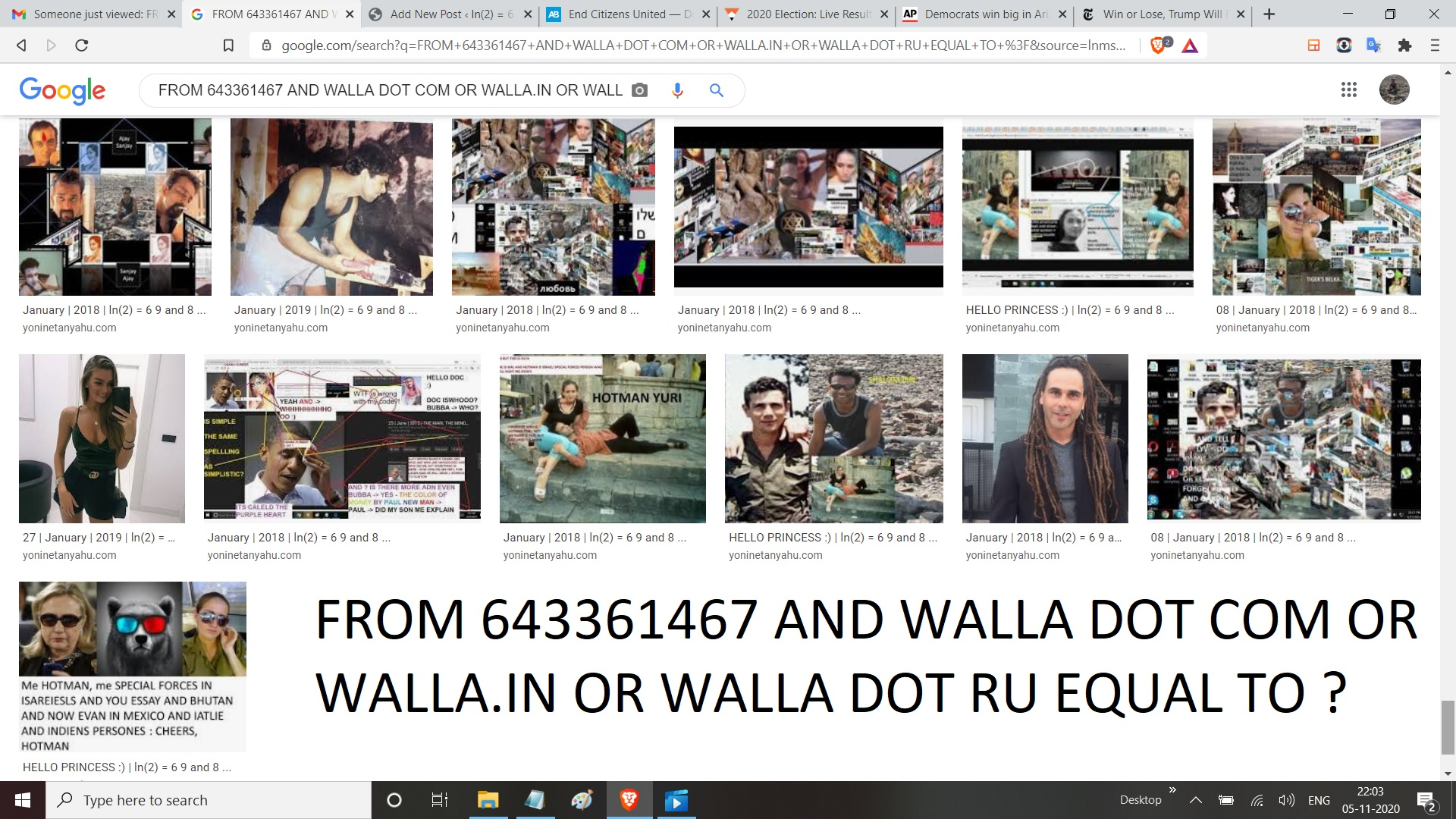 FROM 643361467 AND WALLA DOT COM OR WALLA.IN OR WALLA DOT RU EQUAL TO