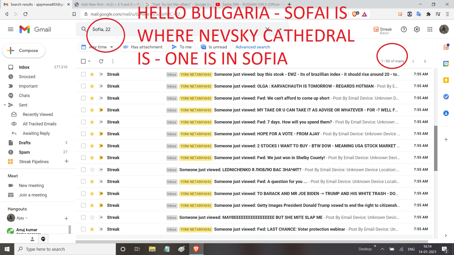 HELLO BULGARIA - SOFAI IS WHERE NEVSKY CATHEDRAL IS - ONE IS IN SOFIA
