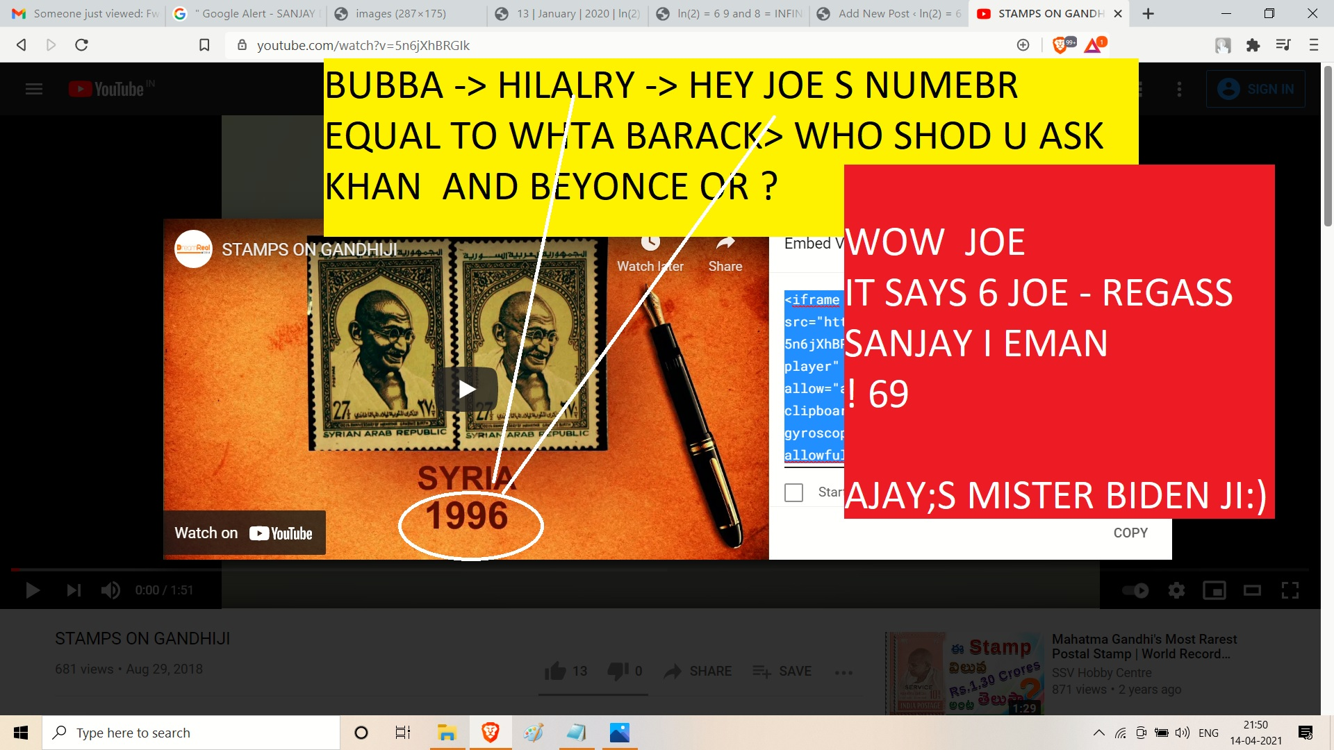 GANDHI AND ATNSP AND JOE BDIEN AND AJAY MISHRA AND SNAJAY DUTT AND 1969 OR 5 AN D8 AND SYRIA ITHSONE SANJAY