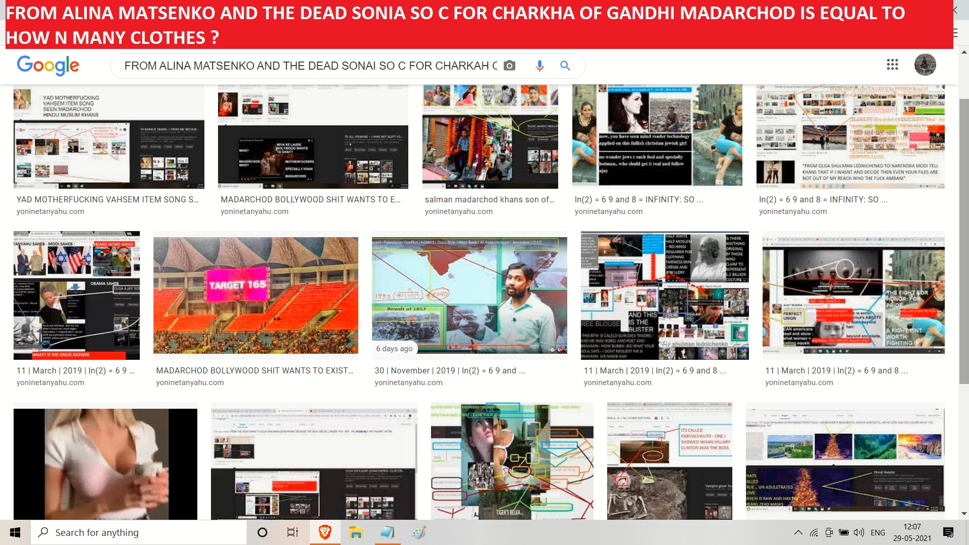 FROM ALINA MATSENKO AND THE DEAD SONIA SO C FOR CHARKHA OF GANDHI MADARCHOD IS EQUAL TO HOW N MANY CLOTHES