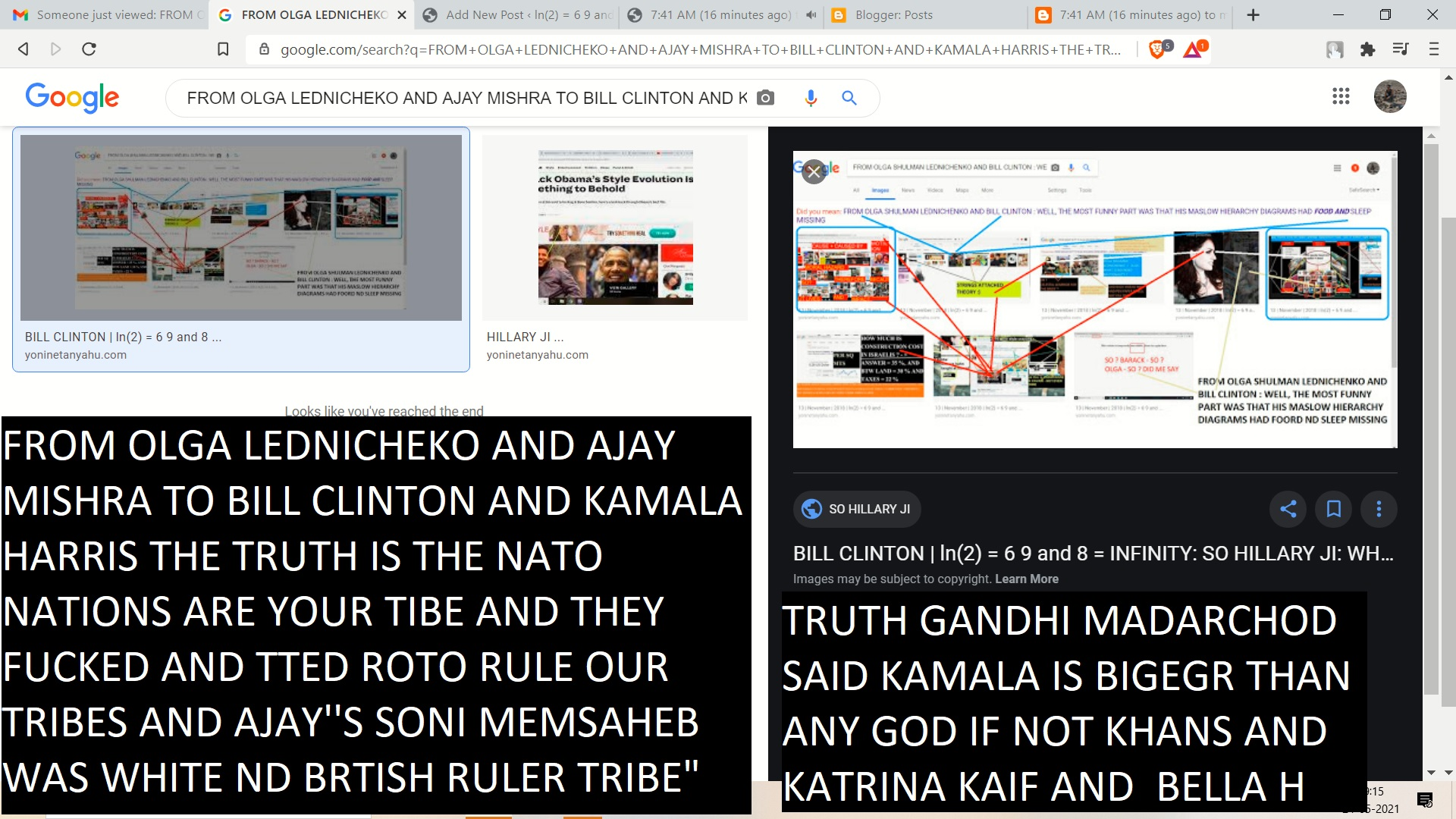 """FROM OLGA LEDNICHEKO AND AJAY MISHRA TO BILL CLINTON AND KAMALA HARRIS THE TRUTH IS THE NATO NATIONS ARE YOUR TIBE AND THEY FUCKED AND TTED ROTO RULE OUR TRIBES AND AJAY''S SONI MEMSAHEB WAS WHITE ND BRTISH RULER TRIBE"""""""