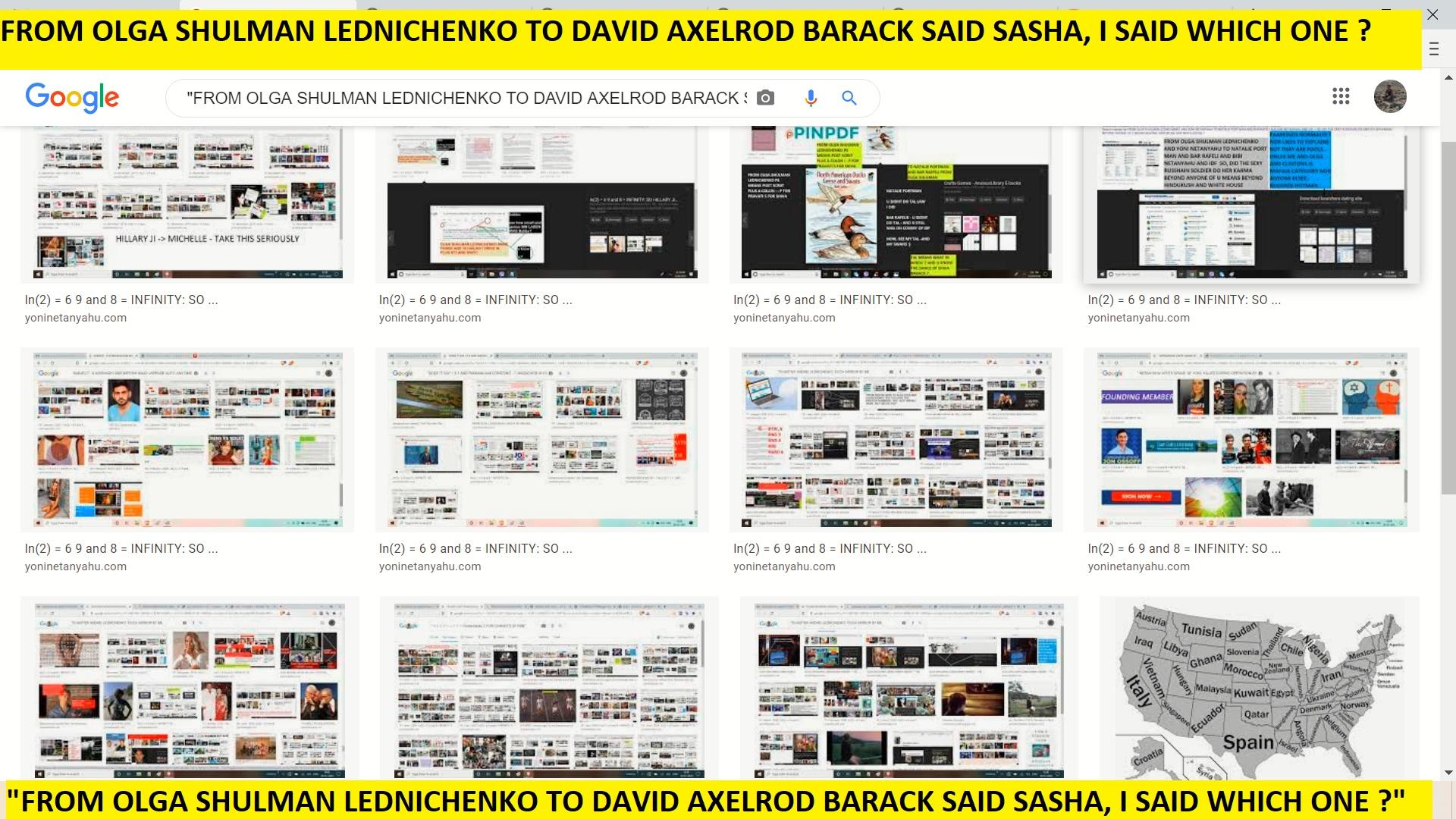 FROM OLGA SHULMAN LEDNICHENKO TO DAVID AXELROD BARACK SAID SASHA, I SAID WHICH ONE