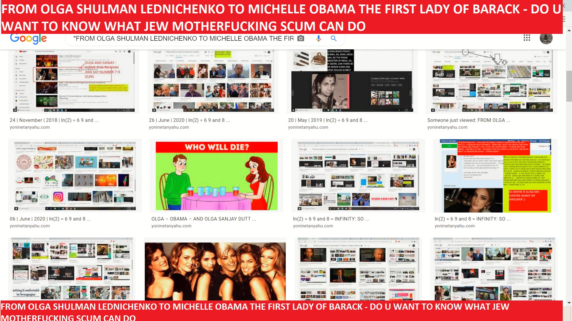 FROM OLGA SHULMAN LEDNICHENKO TO MICHELLE OBAMA THE FIRST LADY OF BARACK - DO U WANT TO KNOW WHAT JEW MOTHERFUCKING SCUM CAN DO ==