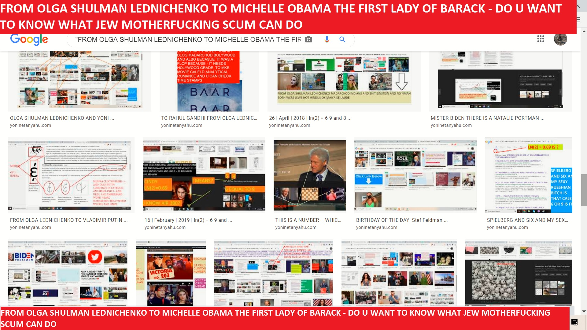 FROM OLGA SHULMAN LEDNICHENKO TO MICHELLE OBAMA THE FIRST LADY OF BARACK - DO U WANT TO KNOW WHAT JEW MOTHERFUCKING SCUM CAN DO -------===---===========
