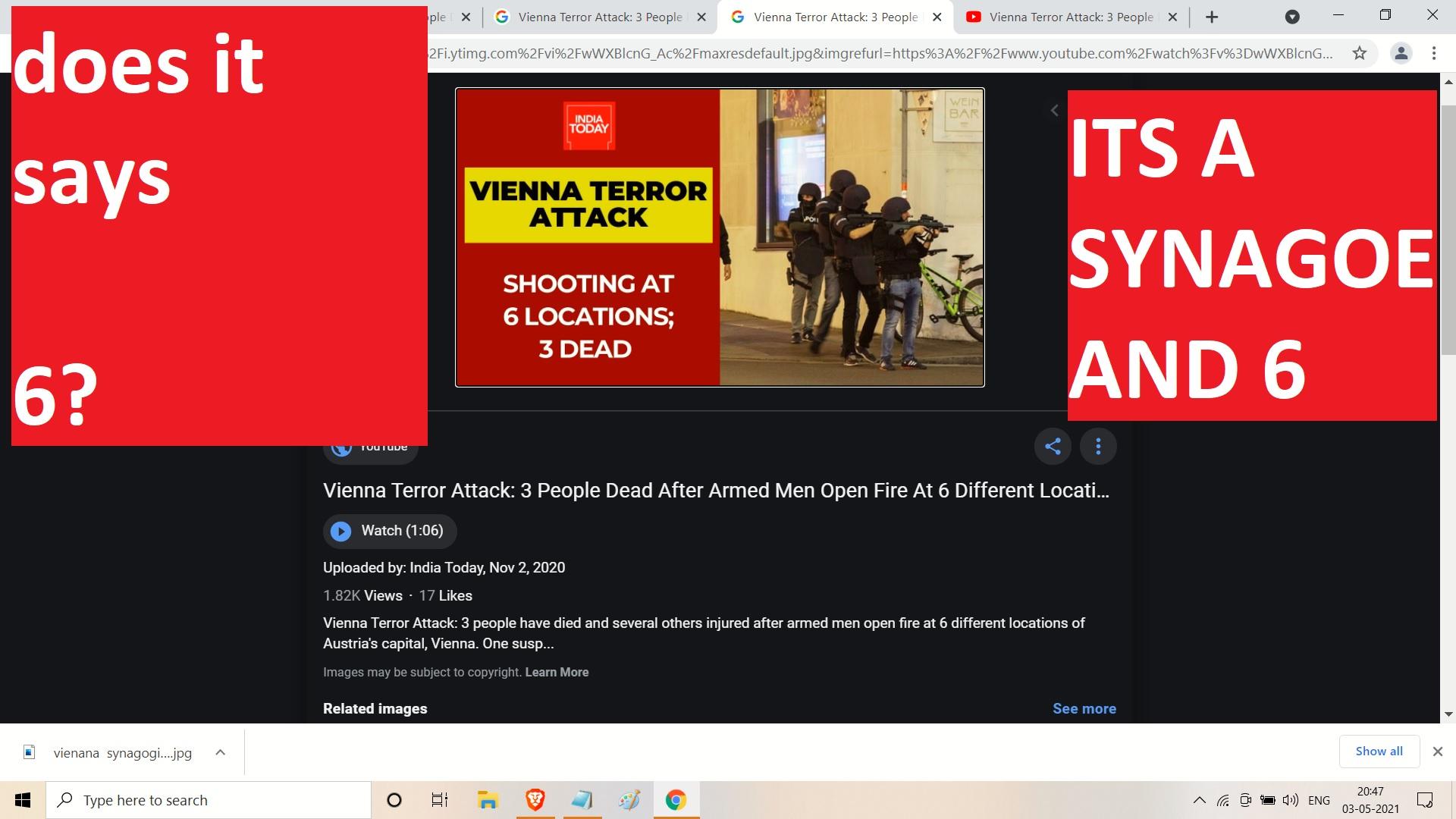 VIENNA 6 TERROIRST ISLAMIC TERAORIST LOCATIONS - ONE AT JEWISH SYNAGOGUE