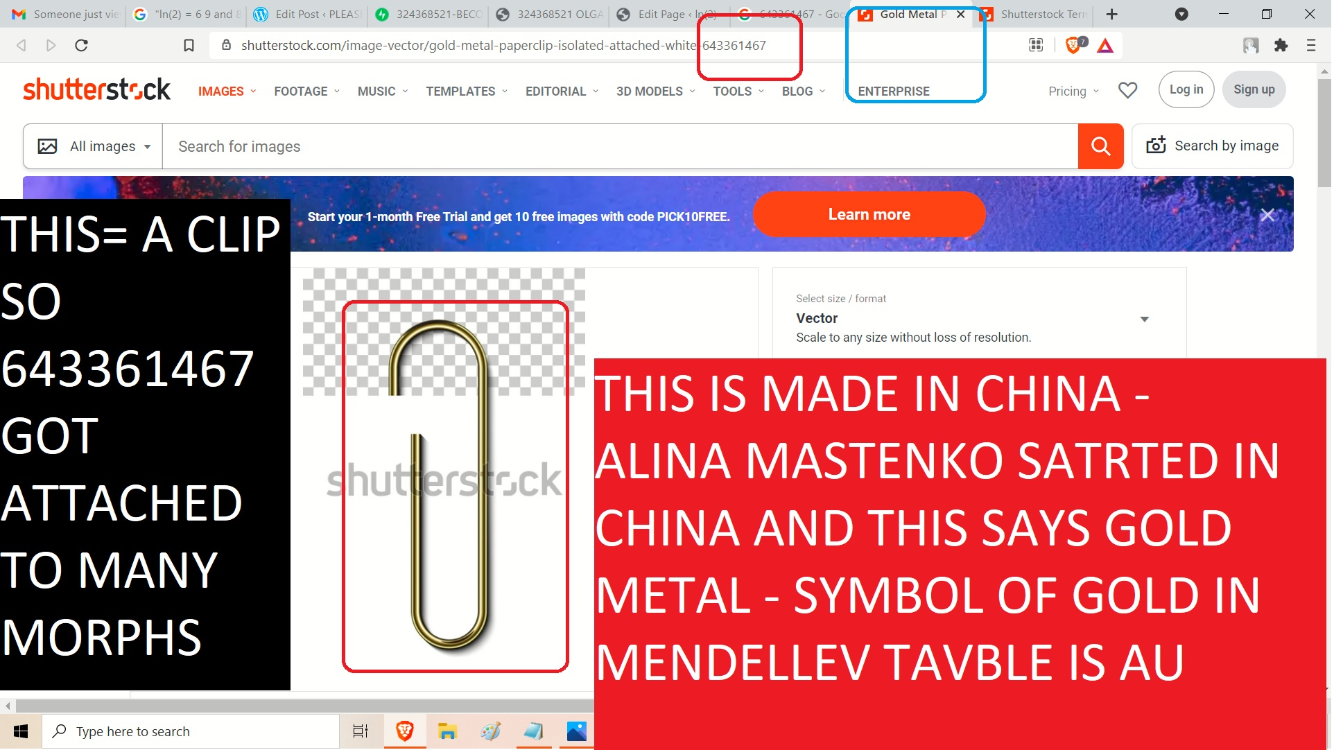 643361467 A CLIP MADE IN CHIN A- SO, THIS IS A GOLD CLIP - GLD = AU IN EMNDELEEV TABLE - THIS IS A CLIP THIS GOT ASTATACHED TO MANY MORPHS