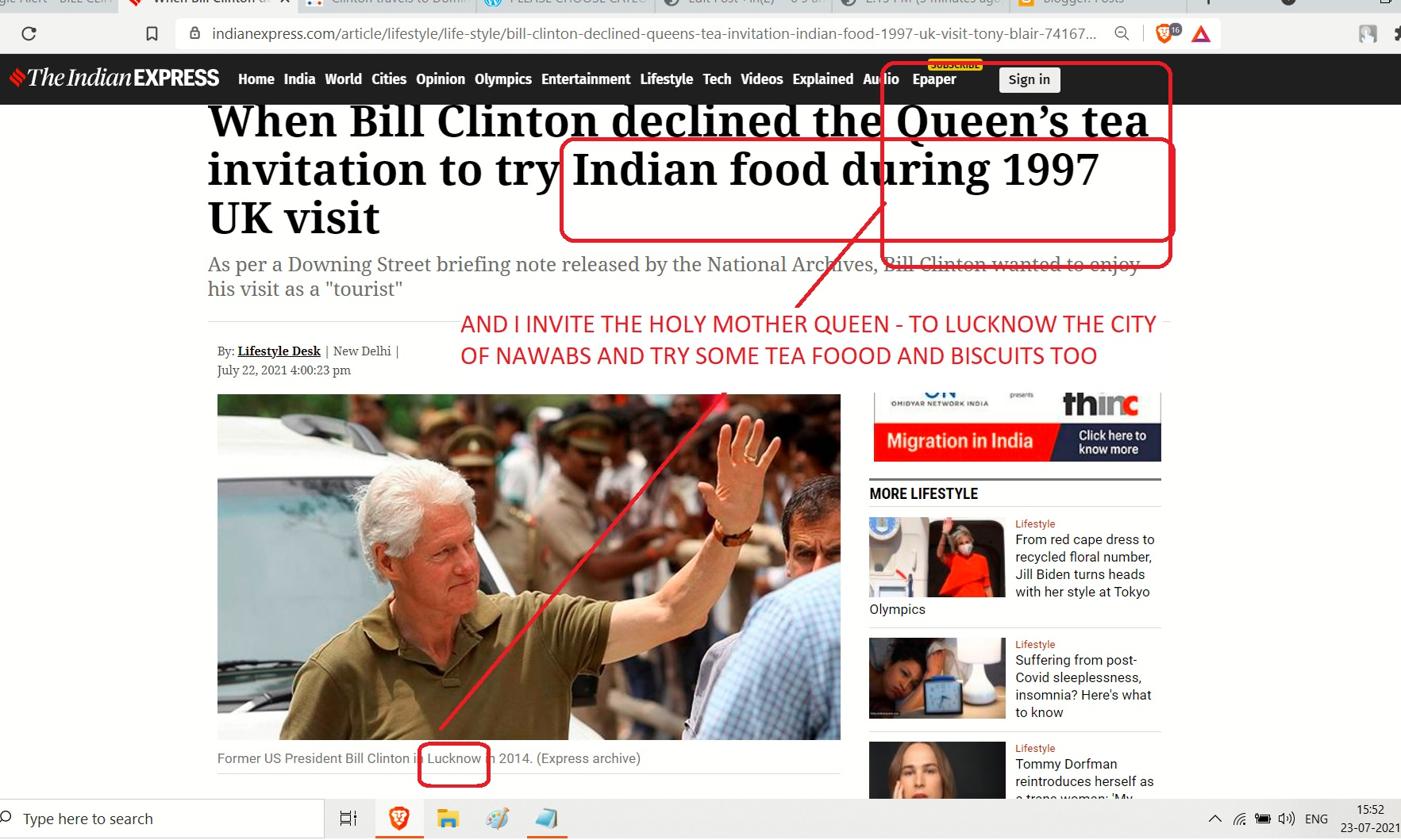 BILL CLINTON FOOD - LUCKNOW AND LONDON AND BUKINGHAM AND THE HOLY MOTEHR QUEEN TRIP 000