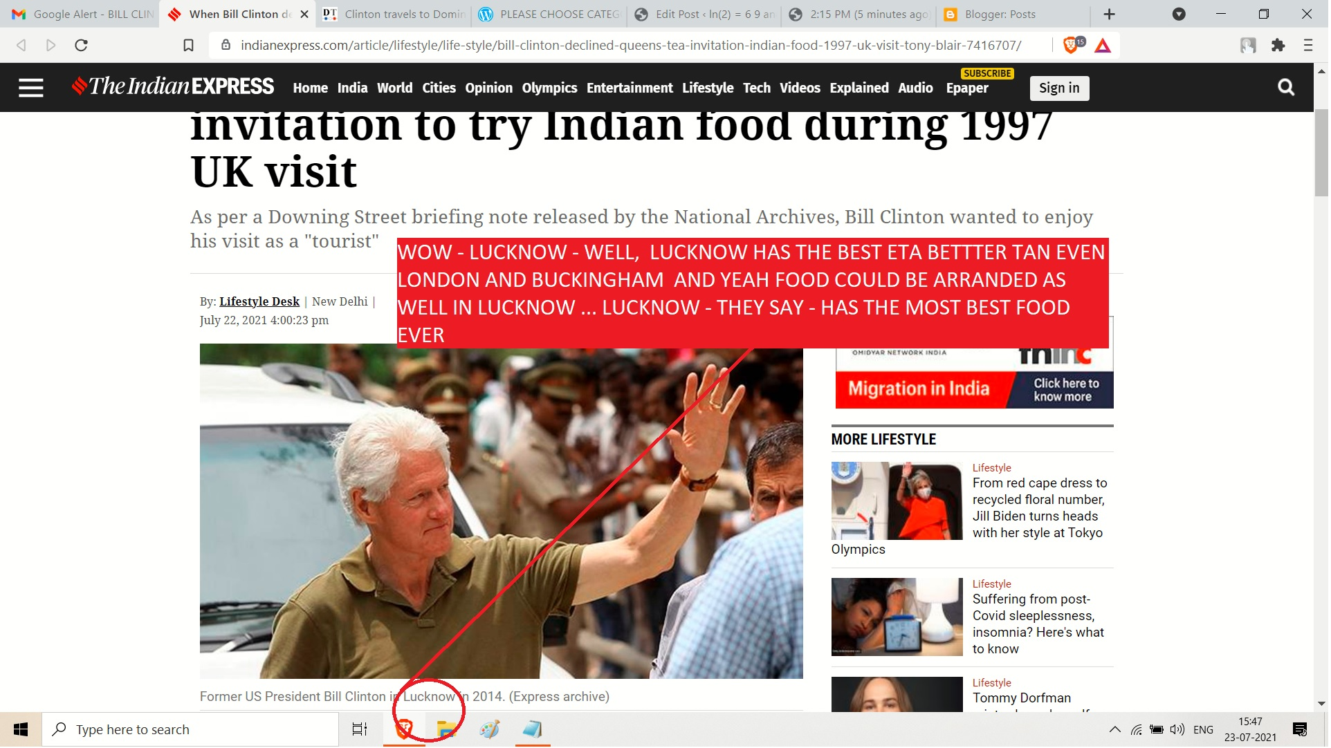 BILL CLINTON FOOD - LUCKNOW AND LONDON AND BUKINGHAM AND THE HOLY MOTEHR QUEEN TRIP