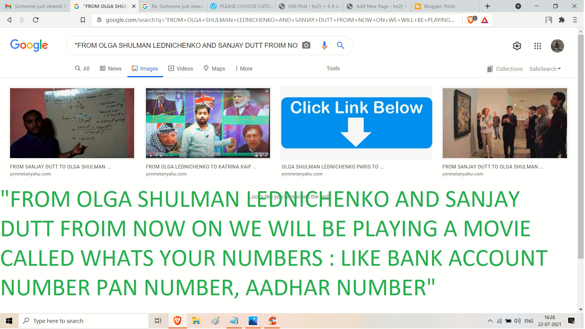 FROIM NOW ON WE WILL BE PLAYING A MOVIE CALLED WHATS YOUR NUMBERS -LIKE BANK ACCOUNT NUMBER PAN NUMBER, AADHAR NUMBER REGRDS AJAY MIHSRA