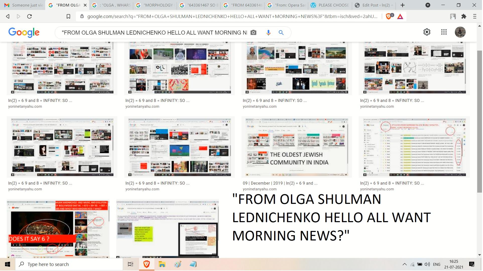 FROM OLGA SHULMAN LEDNICHENKO HELLO ALL WANT MORNING NEWS