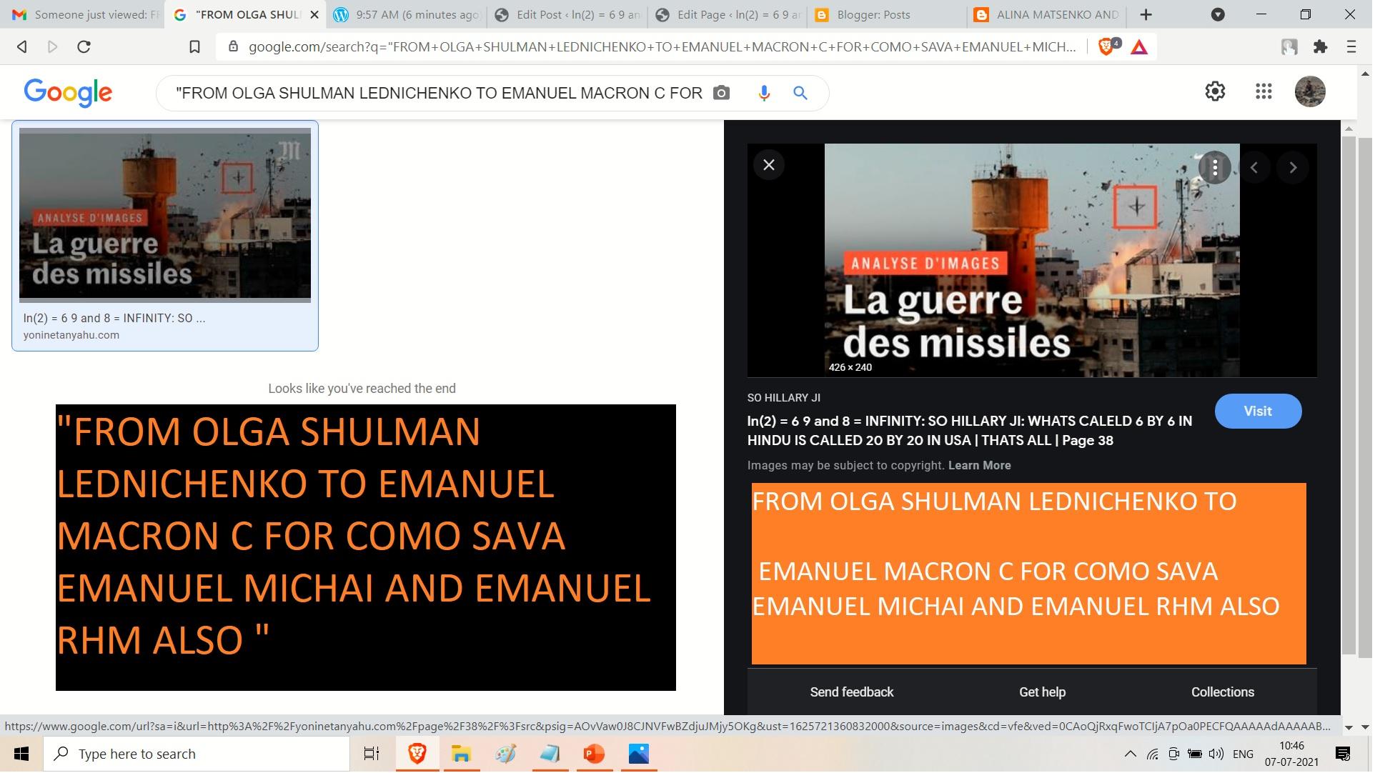 FROM OLGA SHULMAN LEDNICHENKO TO EMANUEL MACRON C FOR COMO SAVA EMANUEL MICHAI AND EMANUEL RHM ALSO