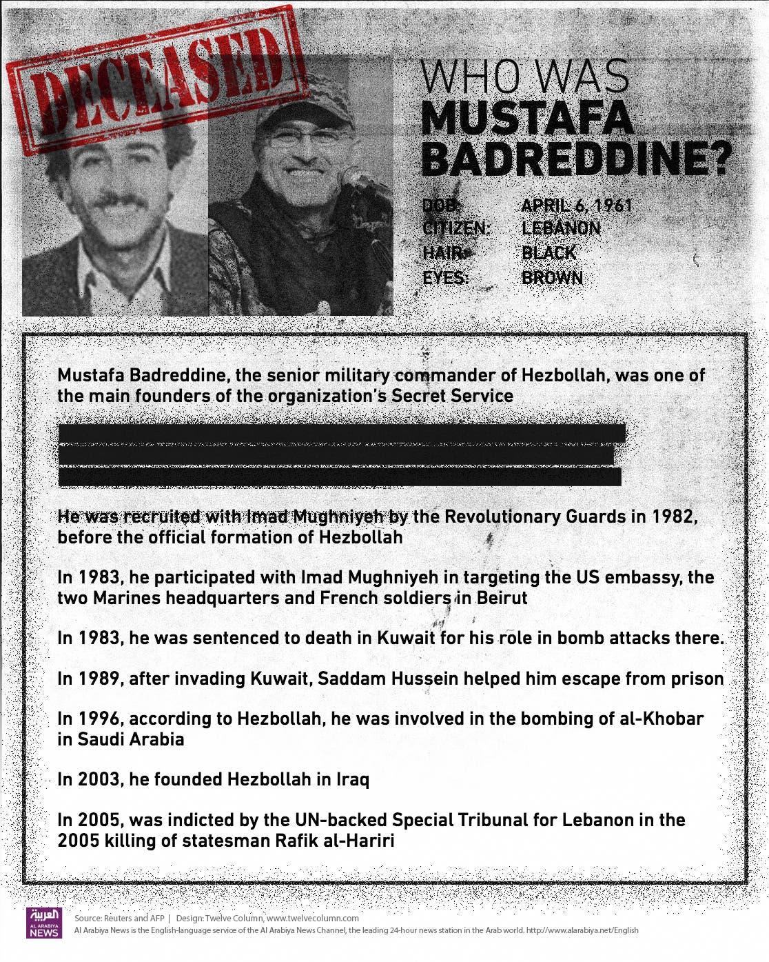 MUSTAFA BEDREDDINE HEZBOLLAH DEAD MAY 13, 2016 --