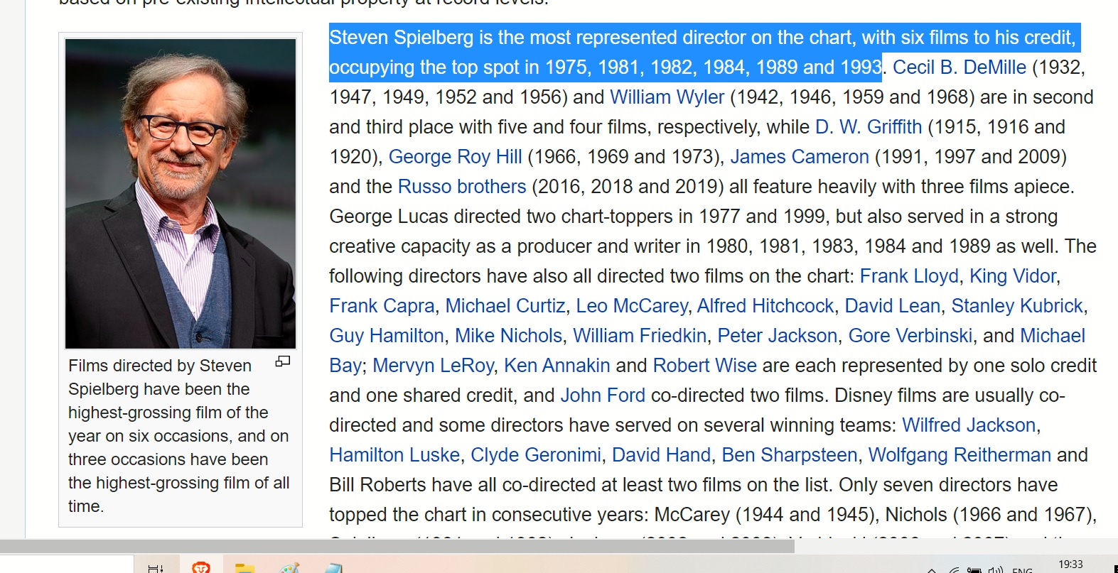 SPIELBERG 6 FILMS 6 TIMES HIHETS GORISSING IN 6 YEARS