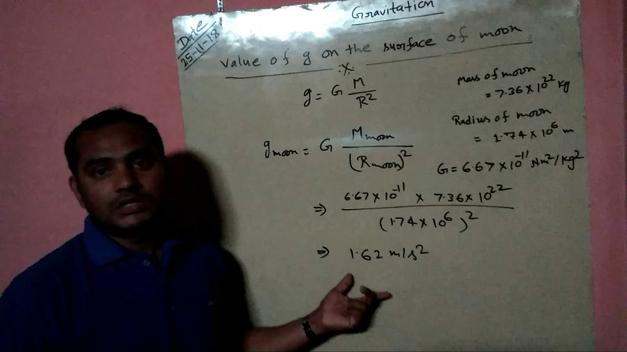 VALUE OF G GRAVITY ON SURFACE OF ,MOON = G DIVIDED BY = 1.62 = IRODOV ,OON PROBLEMS AND SOLUTIONS