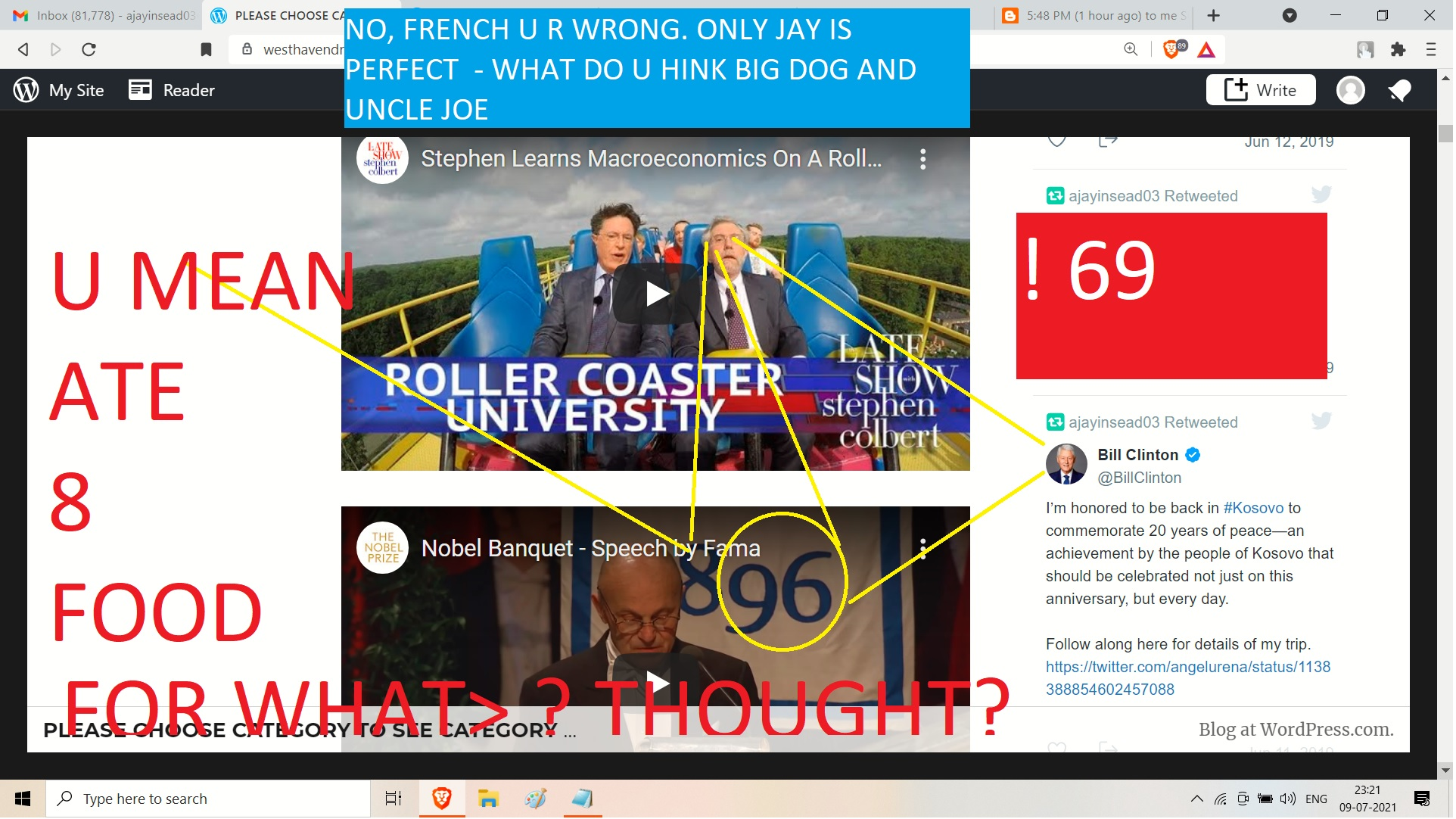 to pail krigman from alina mastenkoa dn ajay mishra cc bill clinton NO, FRENCH U R WRONG. ONLY JAY IS PERFECT - WHAT DO U HINK BIG DOG AND UNCLE JOE