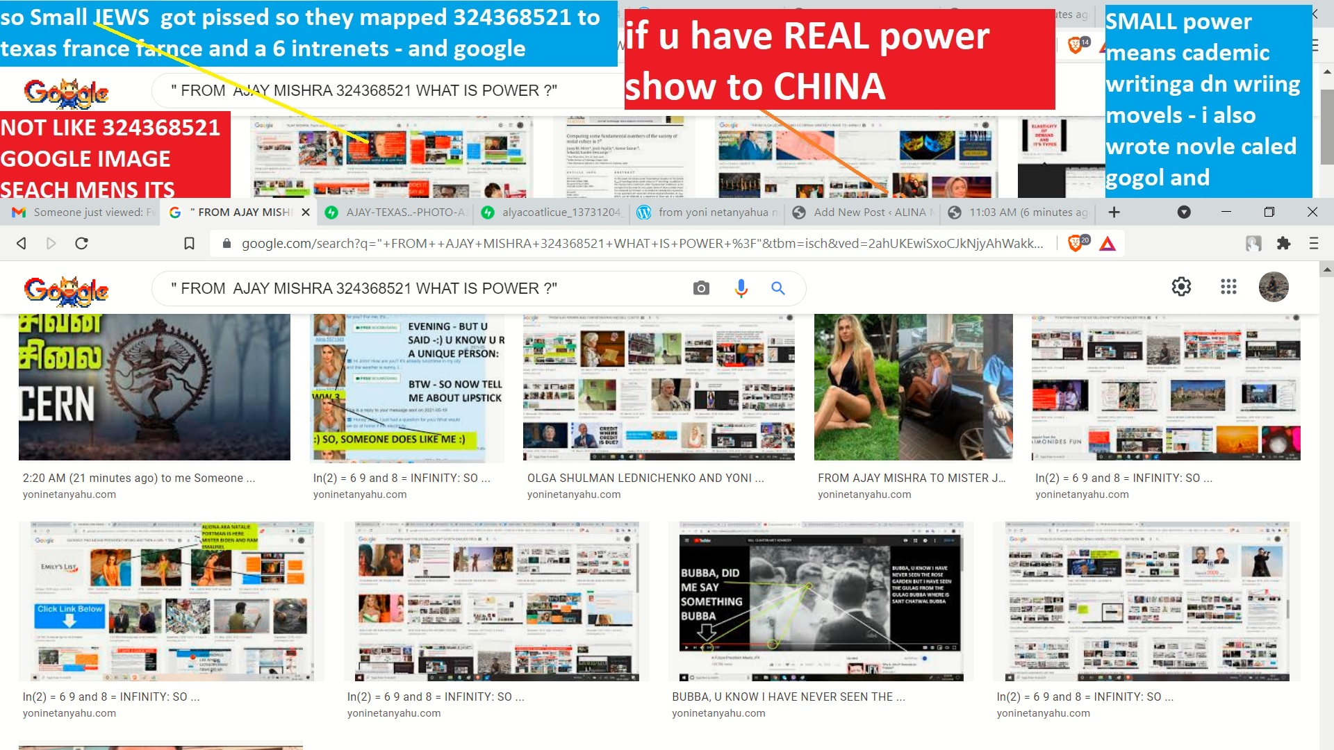 AJAY MISHAR ALINA MATSENKO THIS IS EXAMPLE FO REAL POWER - AND CHALLENGE TO SHOW POWER IF U CAN I HAVE SHOWN SMALL POWER AS EXPRESED IN THESE IMAGES --