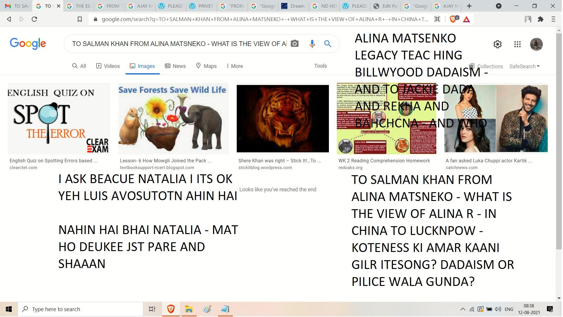 ALINA MATSENKO LEGACY TEAC HING BILLWYOOD DADAISM - AND TO JACKIE DADA AND REKHA AND BAHCHCNA - AND WHO