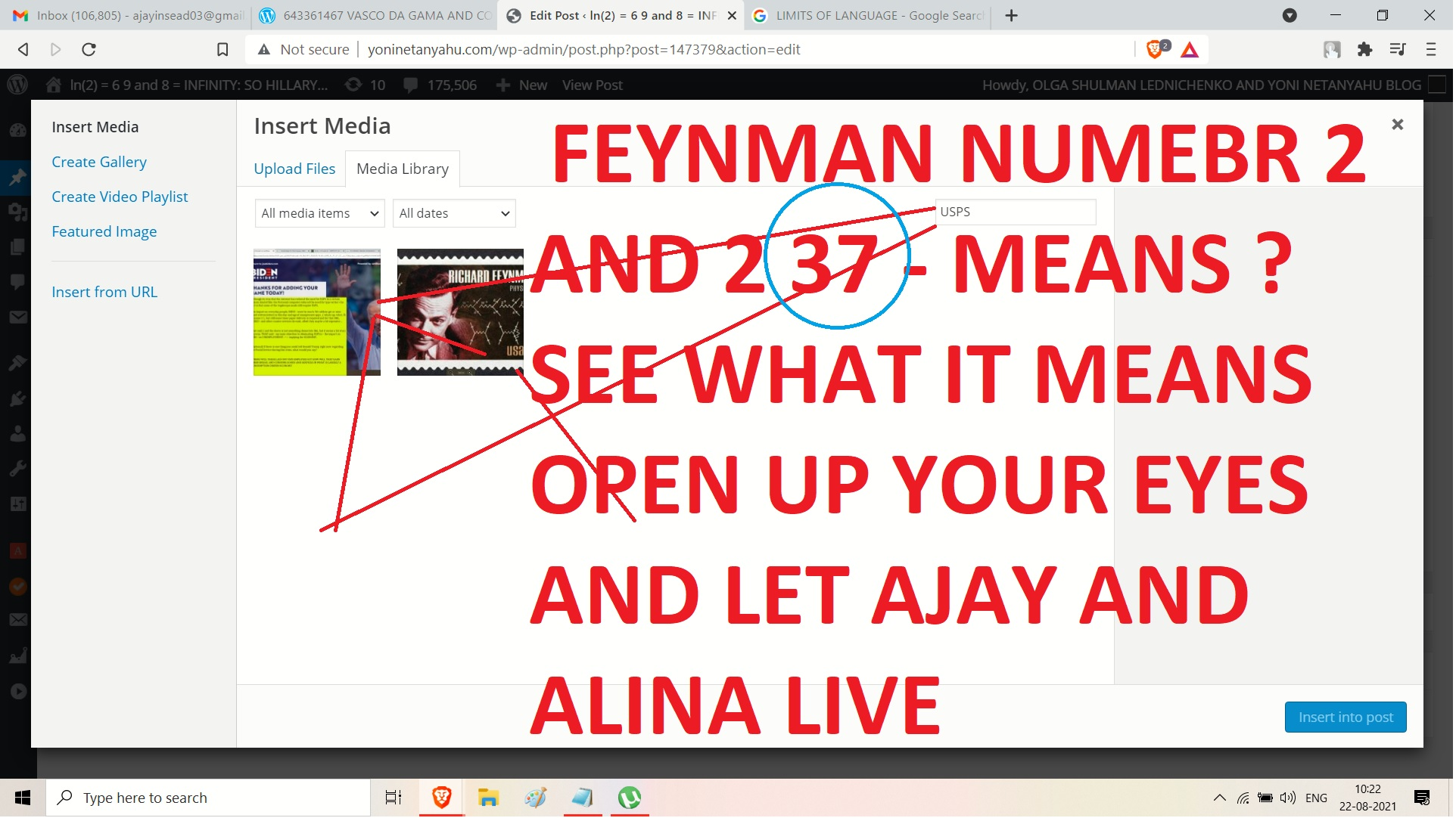 FEYNMAN NUMBER 2 LETTERS - AND 237 MENS CAMEROON - OK DAVID - AND SEE WHAT I T MENS - ND USPS AND NOW OPEN YOUR EYE S AND LETAJAY AND ALINA MATSENKO LIVE