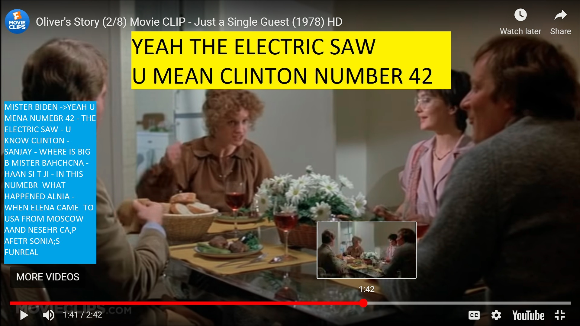 MISTER BIDEN ->YEAH U MENA NUMEBR 42 - THE ELECTRIC SAW - U KNOW CLINTON - SANJAY - WHERE IS BIG B MISTER BAHCHCNA - HAAN SI T JI - IN THIS NUMEBR WHAT HAPPENED ALNIA - WHEN ELENA CAME TO USA FROM MOSCOW AAND NESEHR CA,P AFETR SONIA;S FUNREAL